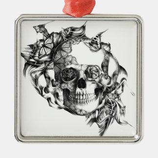 Butterfly Rose Skull from hand illustration Metal Ornament