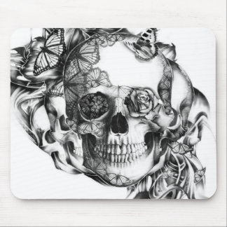 Butterfly Rose Skull from hand illustration Mouse Pad