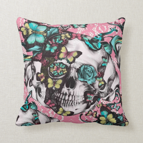 Butterfly rose skull on pink lace. pillow