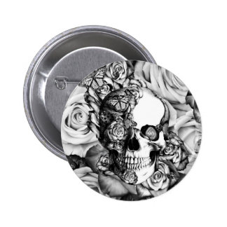 Butterfly rose skull with ladybugs. pinback button