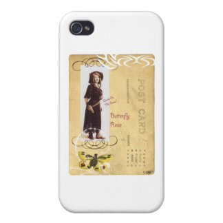 Butterfly Rose Vintage Cowgirl Western Collage Art iPhone 4/4S Case