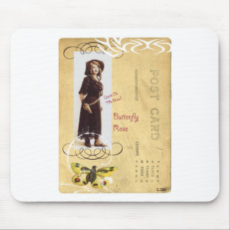 Butterfly Rose Vintage Cowgirl Western Collage Art Mouse Pad