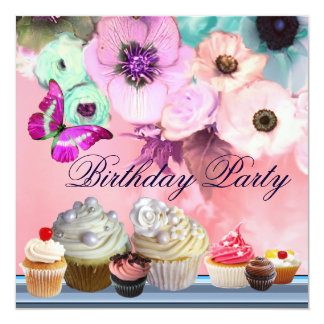 BUTTERFLY,ROSES,ANEMONE FLOWERS,CUPCAKES Birthday Card