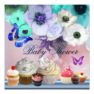 BUTTERFLY,ROSES,FLOWERS ,CUPCAKES Blue Baby Shower Card