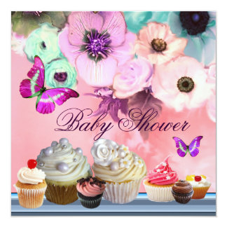 BUTTERFLY,ROSES,FLOWERS ,CUPCAKES Pink Baby Shower Card