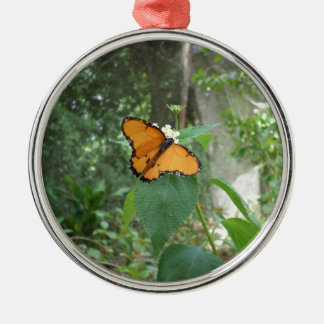 butterfly round metal christmas ornament