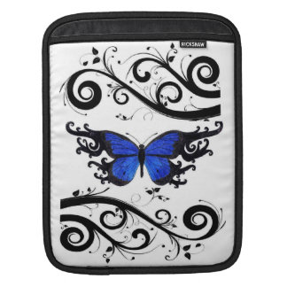 Butterfly Royal Blue and Black Swirls IPad Sleeve
