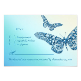 Butterfly RSVP Wedding Reply Card Blue