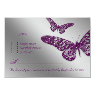 Butterfly RSVP Wedding Reply Card Purple