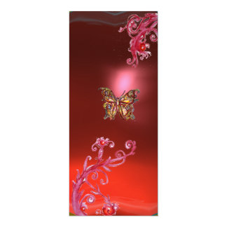 BUTTERFLY RUBY , bright red pink violet Card