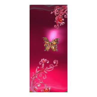 BUTTERFLY RUBY , bright red pink violet 4x9.25 Paper Invitation Card