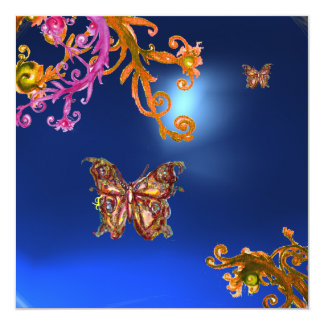 BUTTERFLY  SAPPHIRE BLUE, bright pink yellow brown Card