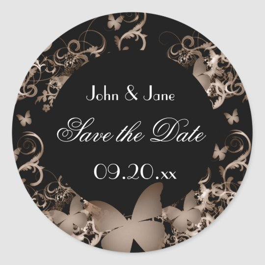 """Butterfly """"Save the Date"""" Classic Round Sticker"""