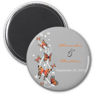 Butterfly Save The Date Wedding Announcement 2 Inch Round Magnet