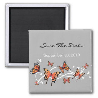Butterfly Save The Date Wedding Announcement 2 Inch Square Magnet