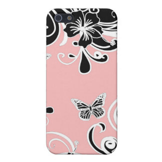 Butterfly Scroll Pink Black Speck Case iPhone4