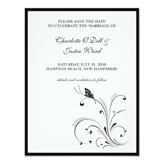 butterfly scroll; save the date card