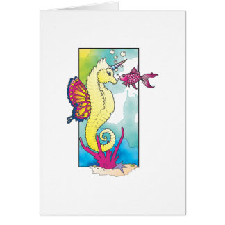 butterfly seahorse and fish card