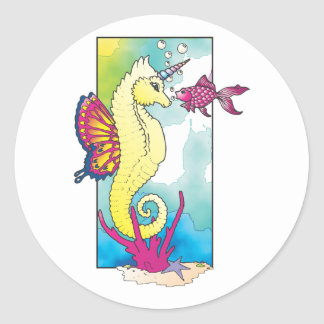 butterfly seahorse and fish round sticker