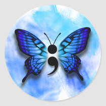 Butterfly semicolon badge classic round sticker
