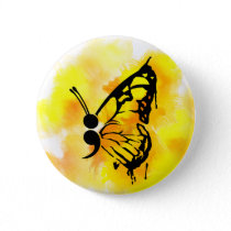 Butterfly semicolon badge pinback button