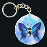 "Butterfly semicolon keychain<br><div class=""desc"">Watercolor semi colon blue butterly button.</div>"