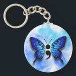 """Butterfly semicolon keychain<br><div class=""""desc"""">Watercolor semi colon blue butterly button.</div>"""