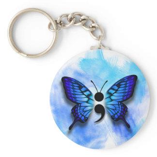 Butterfly semicolon keychain