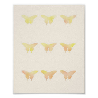 Butterfly Shabby Chic Pastel Illustration Poster