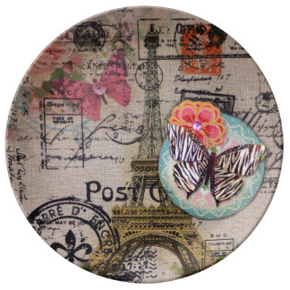 butterfly shabby chic vintage paris eiffel tower porcelain plate