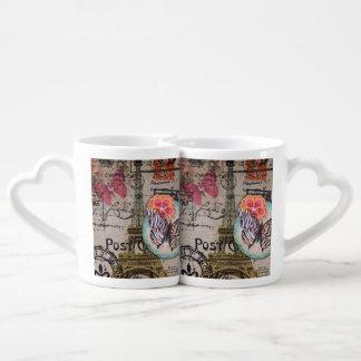 butterfly shabby chic vintage paris eiffel tower couples' coffee mug set