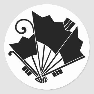 Butterfly-shaped fans (Ohgi cho) Classic Round Sticker