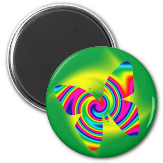 Butterfly Shaped Rainbow Twirl 2 Inch Round Magnet