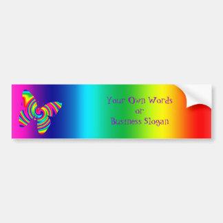 Butterfly Shaped Rainbow Twirl Car Bumper Sticker
