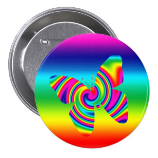 Butterfly Shaped Rainbow Twirl Pinback Buttons