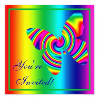 Butterfly Shaped Rainbow Twirl Card