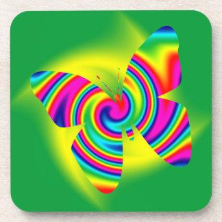Butterfly Shaped Rainbow Twirl Drink Coaster