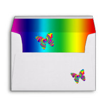 Butterfly Shaped Rainbow Twirl Envelope