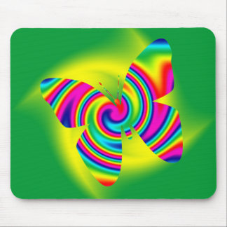 Butterfly Shaped Rainbow Twirl Mouse Pad