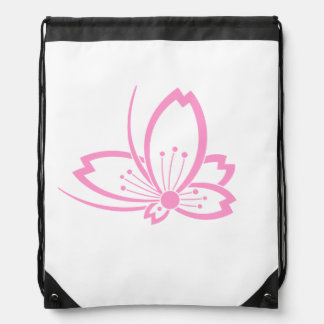 Butterfly-shaped shadowed Cherry blossom Drawstring Backpack