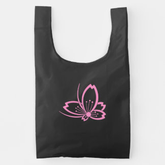Butterfly-shaped shadowed Cherry blossom Reusable Bag