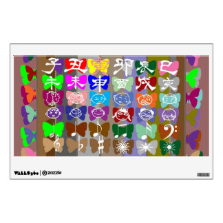 Butterfly Show : Cartoon Faces Symbols Chinese Num Wall Sticker