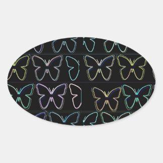 Butterfly Show Oval Sticker