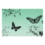 Butterfly Silhouette On Dreamy Blue Posters