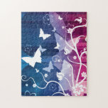 Butterfly Silhouettes on Blue and Purple Puzzles