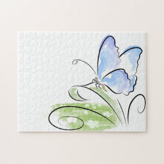 Butterfly sitting on grass over flower field puzzle