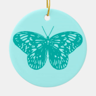 Butterfly sketch, aqua and turquoise ceramic ornament