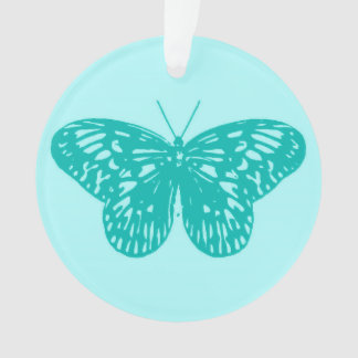Butterfly sketch, aqua and turquoise ornament