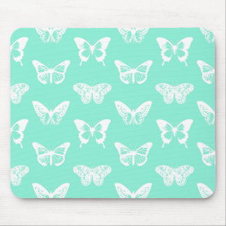 Butterfly sketch, aqua and white mouse pad