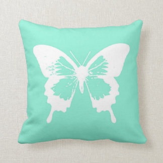 Butterfly sketch, aqua and white throw pillow